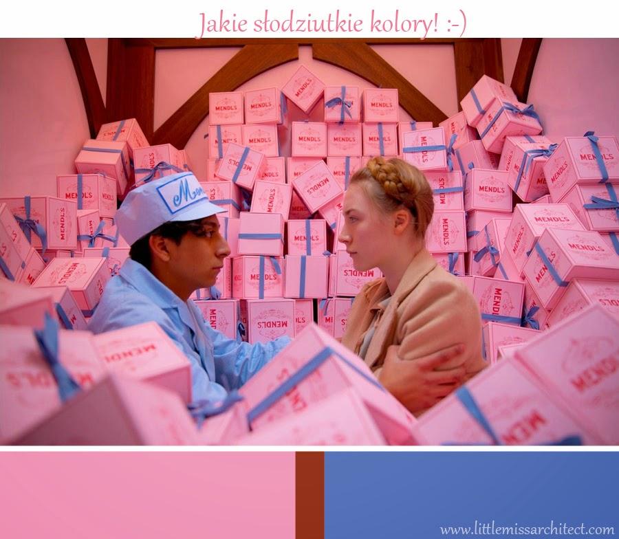 Grand Budapest Hotel, paleta kolorów - różowy i niebieski, scenografia,