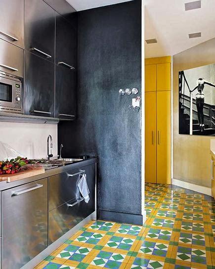 kafle cementowe, płytki cementowe w kuchni