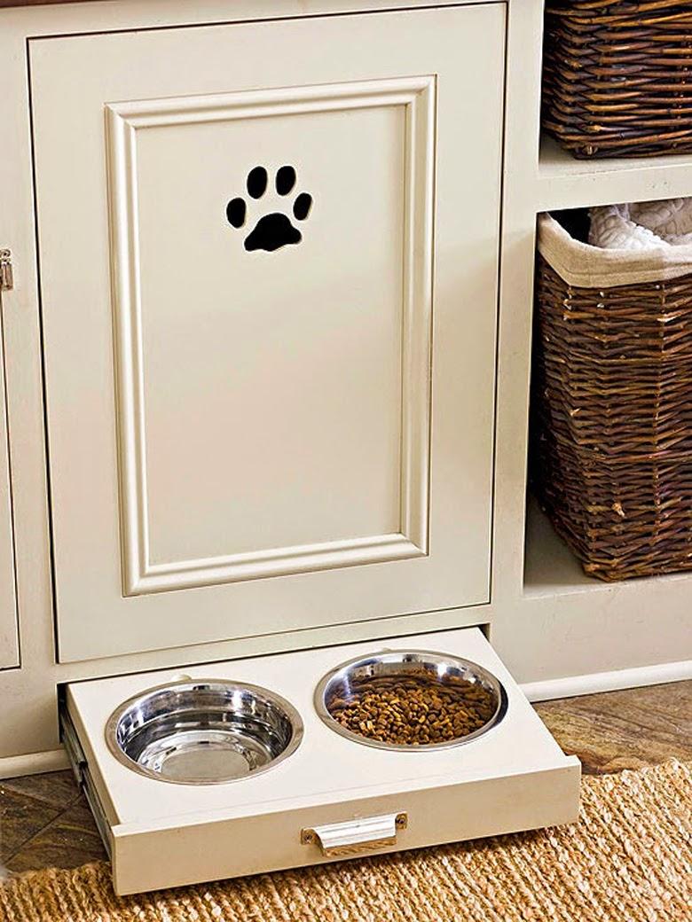 schowki w kuchni, funkcjonalna kuchnia, miska dla psa w kuchni