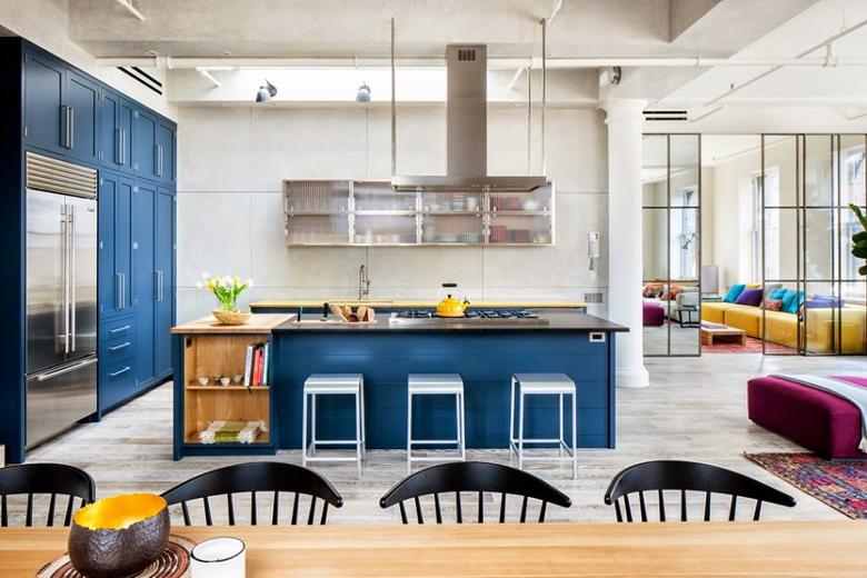 inspiracja kuchenna.Granatowa kuchnia.