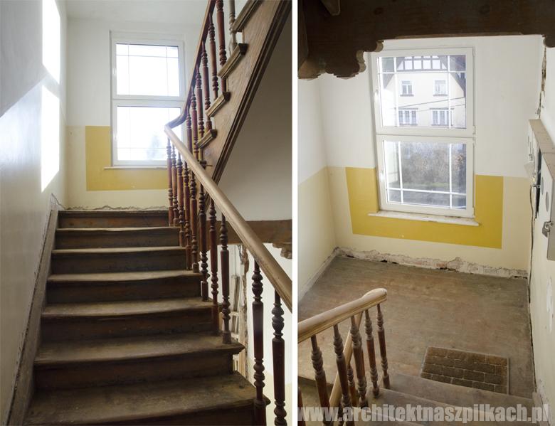 klatka schodowa w Sopocie w trakcie remontu