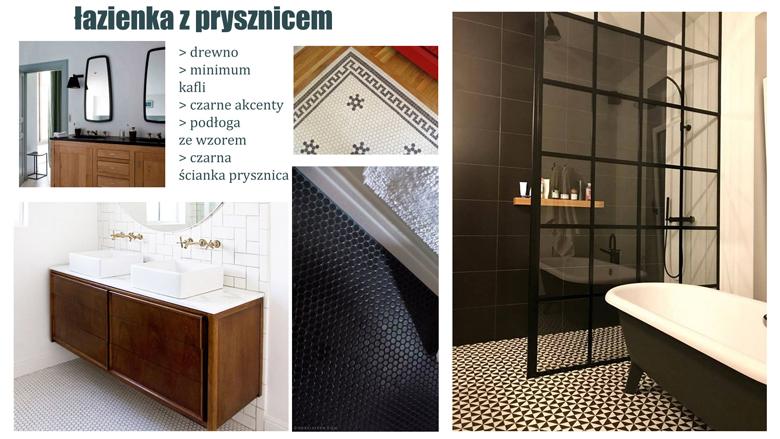 łazienka, czarna, drewniana